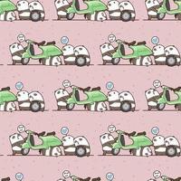 naadloze kawaii mechanische panda's werkpatroon