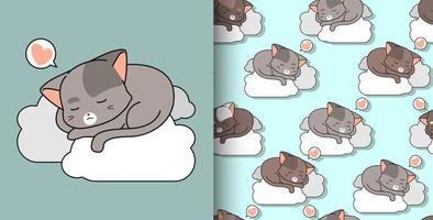 naadloze patroon hand getekend schattige kat slapen op wolk