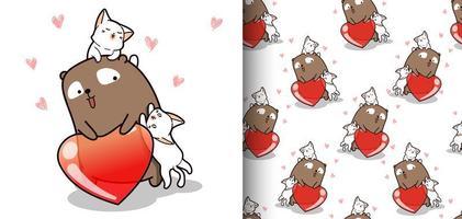 naadloze patroon kawaii beer en 2 katten met hart