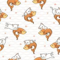 naadloze patroon kawaii kat rijden grote vis vector