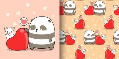 naadloze patroon kawaii panda en kat met groot hart vector