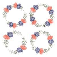 pioen bloemen cirkel frame collectie aquarel handgeschilderde stijl