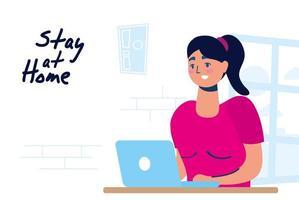 thuiskantoorcampagne met vrouw op de laptop