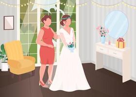 bruid voorbereiding met bruidsmeisje