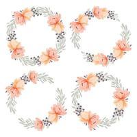 aquarel perzik peony bloem krans cirkelframe collectie vector