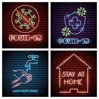 coronavirus neonlicht pictogrammen