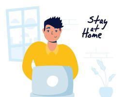 thuiskantoorcampagne met man op laptop