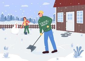 mensen die sneeuw buiten het huis schoonmaken vector