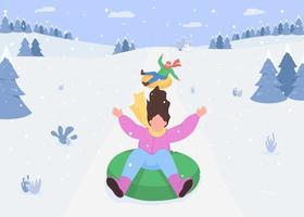 sneeuw heuvel sleeën vector