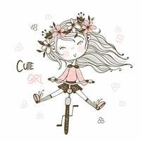 schattig meisje met een lange vlecht met een kitten vector