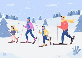 familie skiën plat vector