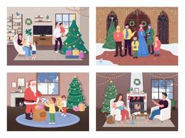 kerstviering set vector