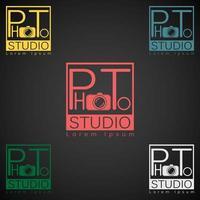 fotostudio-logo mock-up donkere voorbeeldtekst vector