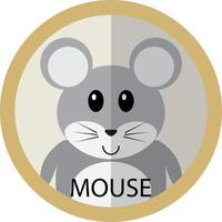 schattige grijze muis cartoon platte pictogram avatar vector
