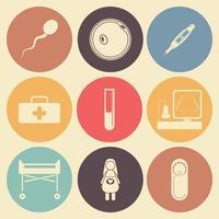zwangerschap platte pictogrammenset in kleur cirkels
