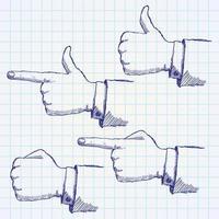 hand getrokken schets handen ingesteld op papieren notitieblok