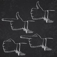 hand getrokken schets handen ingesteld op blackboard