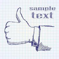 hand getrokken schets zoals hand op papieren notitieblok