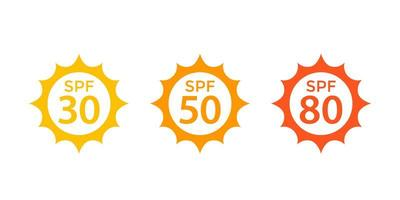 spf 30, 50, 80, zon, uv-beschermingspictogrammen vector