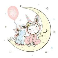 baby in pyjama zittend op de maan met eenhoorn speelgoed
