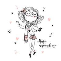 modieus schattig tienermeisje, luisteren naar muziek