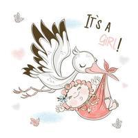 een ooievaar draagt een babymeisje. verjaardagskaart vector