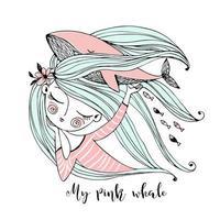 een lief meisje droomt van de zee vector