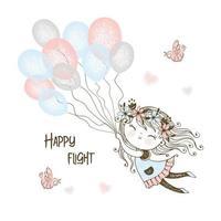 schattig meisje vliegende ballonnen vector