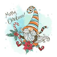 kerstkaart met een schattige nordic gnome