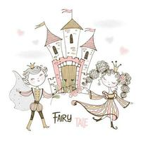 een prins en prinses in een sprookjesachtig kasteel.