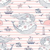 naadloze patroon met schattige zeemeerminnen die op walvissen slapen