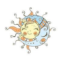 zon en maan doodle stijl voor kinderthema. vector
