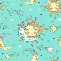 schattige zon en maan aan de sterrenhemel.