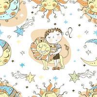 een leuk naadloos patroon voor kinderen. sterrenbeeld Leeuw.