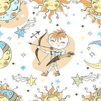 een leuk naadloos patroon voor kinderen. Zodiac Boogschutter.