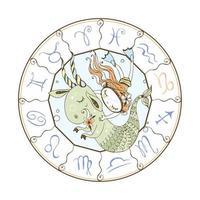 dierenriem voor kinderen. teken van steenbok. een meisje dat zwemt
