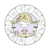 Weegschaal sterrenbeeld. schattig meisje in de lotushouding. vector