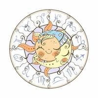 het symbool van de zon en het maanastrologie