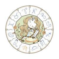 dierenriem voor kinderen. teken van Maagd. schattig meisje vector