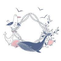 nautisch themakader met walvis, zeemeeuwen, schelpen, vissen. vector