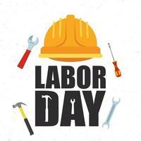 viering van de dag van de arbeid met helm en gereedschap