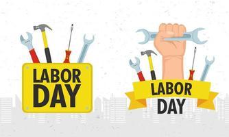 gelukkige dag van de arbeid viering set vector
