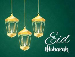eid mubarak viering banner met hangende lampen