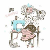 schattig meisje naaister naait op een naaimachine