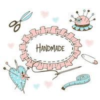 schattig frame in handwerk naaien in doodle stijl