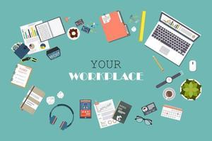 bovenaanzicht van moderne kantoorwerkplek