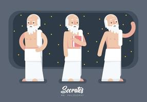 Socrates Karakter Cartoon Flat Vector Illustratie