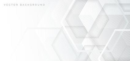 witte en grijze geometrische zeshoek overlappende banner vector
