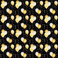 naadloze ballon en confetti patroon op zwart