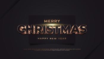 vrolijk kerstfeest banner met 3d gouden tekst op zwart papier
